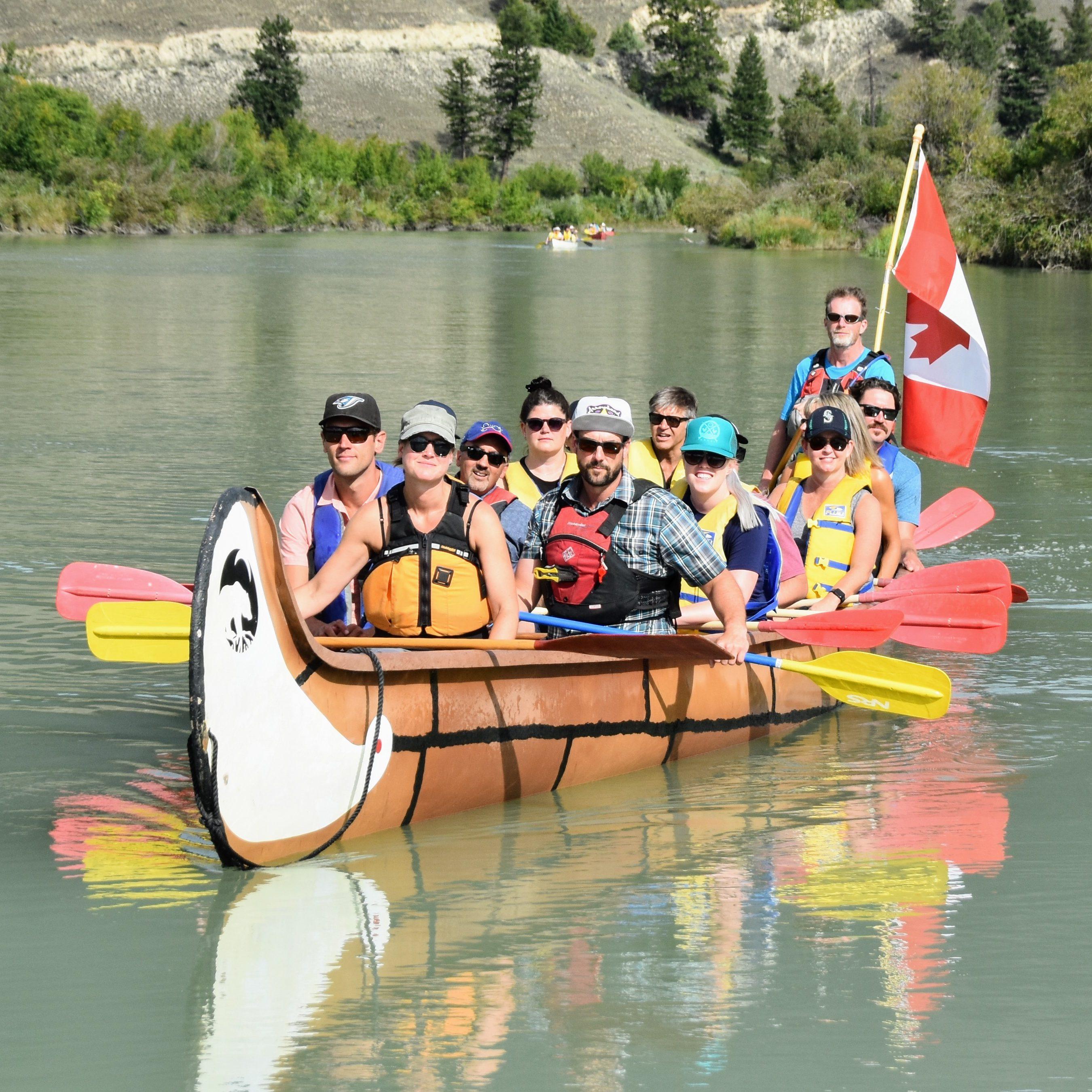 Interpretive Paddle in a big canoe